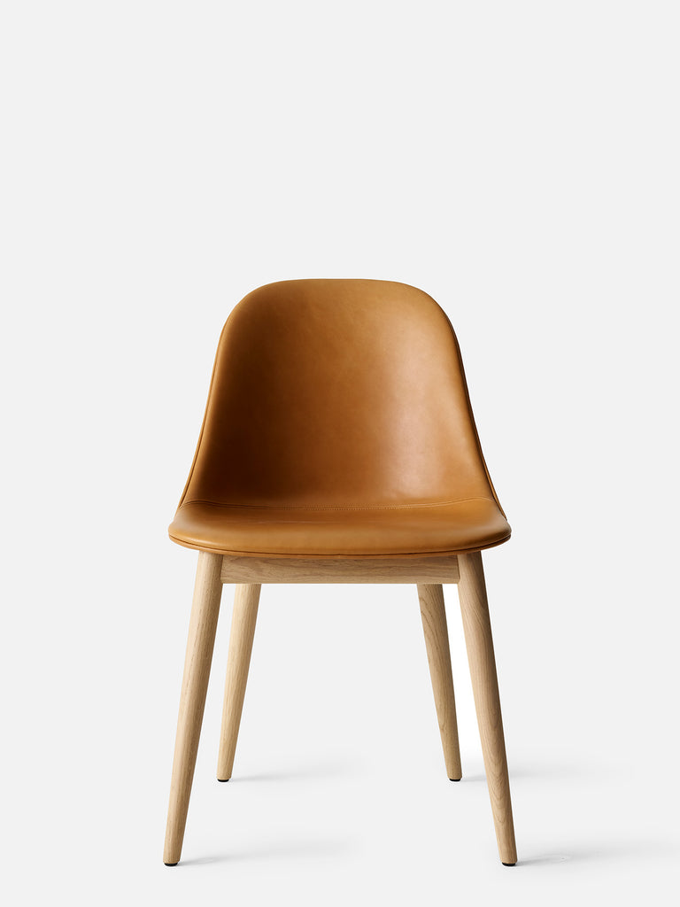 Harbour Side Chair, Upholstered-Chair-Norm Architects-Dining Height (Seat 17.7in H)/Natural Oak-0250 Cognac/Dakar-menu-minimalist-modern-danish-design-home-decor