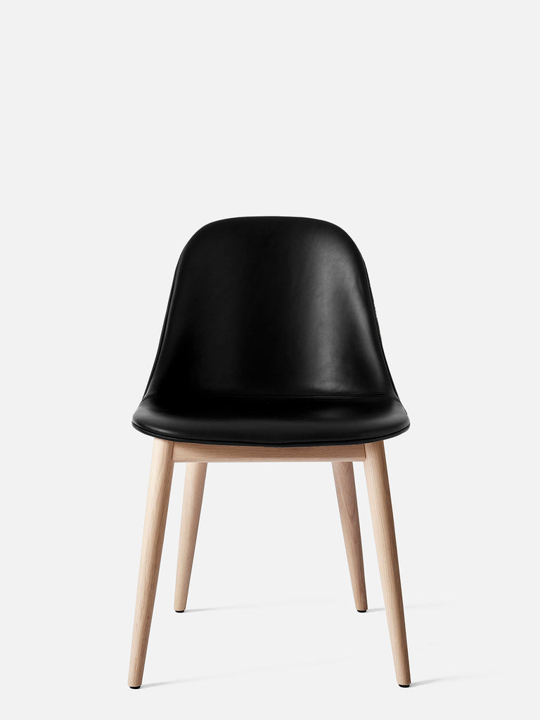 Harbour Side Chair, Upholstered-Chair-Norm Architects-Dining Height (17.7in) - Natural Oak-Black Leather Dakar 0842-menu-minimalist-modern-danish-design-home-decor