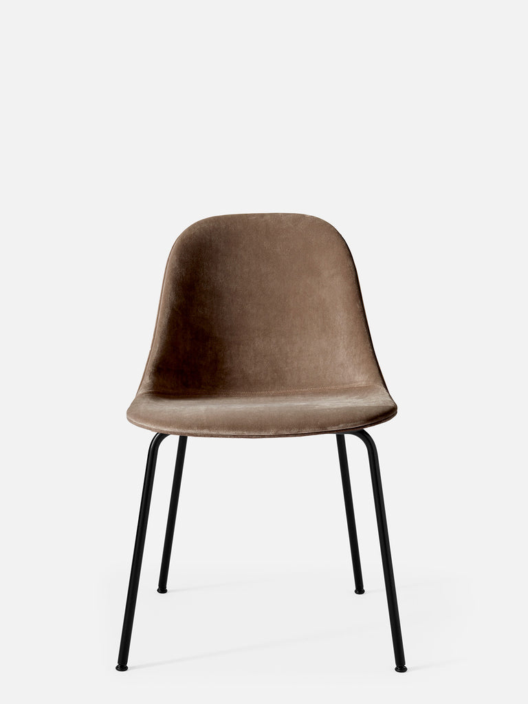 Harbour Side Chair, Upholstered-Chair-Norm Architects-Dining Height (17.7in) - Black Steel-Grey Brown Velvet CA7832 (078)-menu-minimalist-modern-danish-design-home-decor