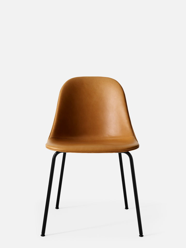 Harbour Side Chair, Upholstered-Chair-Norm Architects-Dining Height (17.7in)/Black Steel-0250 Cognac/Dakar-menu-minimalist-modern-danish-design-home-decor