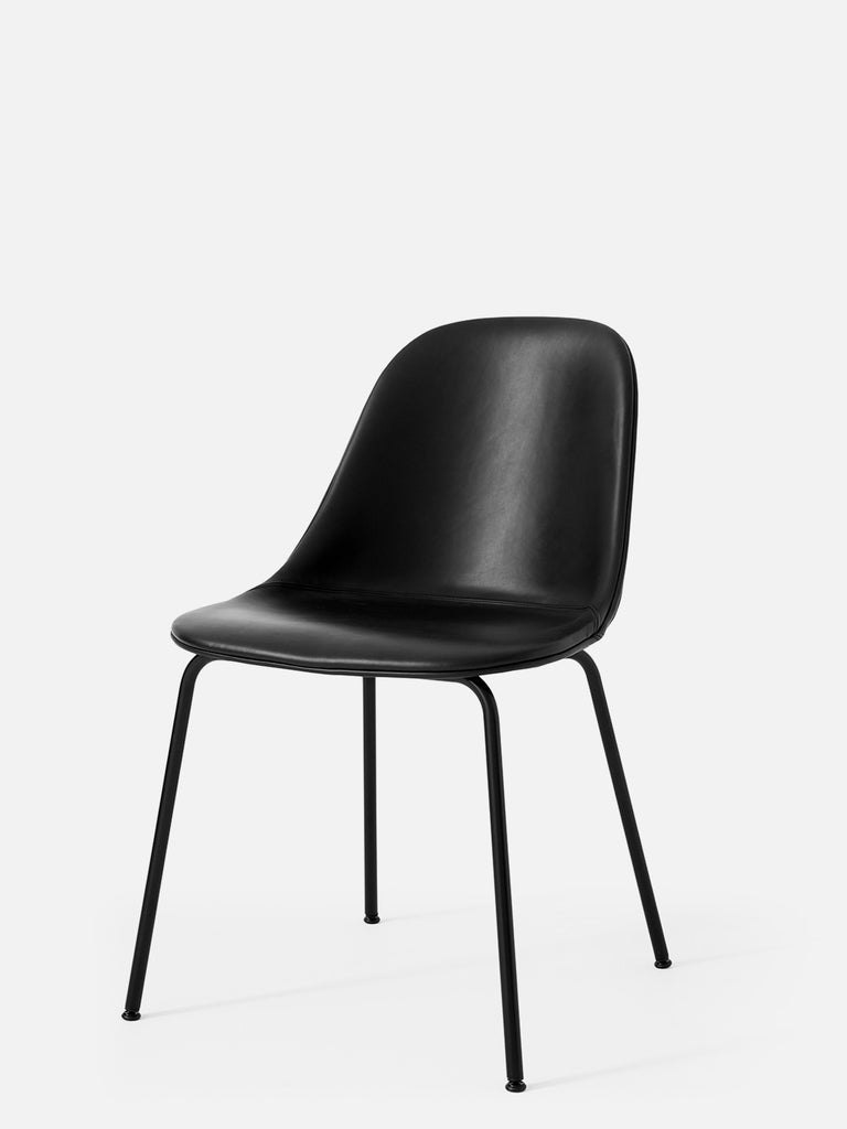 Harbour Side Chair, Upholstered-Chair-Norm Architects-Table Height - Black Steel-Black Leather Dakar 0842-menu-minimalist-modern-danish-design-home-decor
