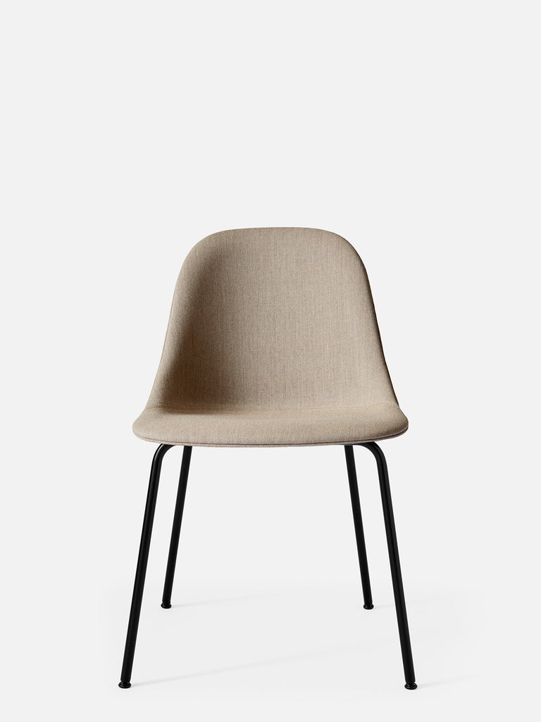 Harbour Side Chair, Upholstered-Chair-Norm Architects-Table Height - Black Steel-Sandy Brown Remix 2 (233)-menu-minimalist-modern-danish-design-home-decor