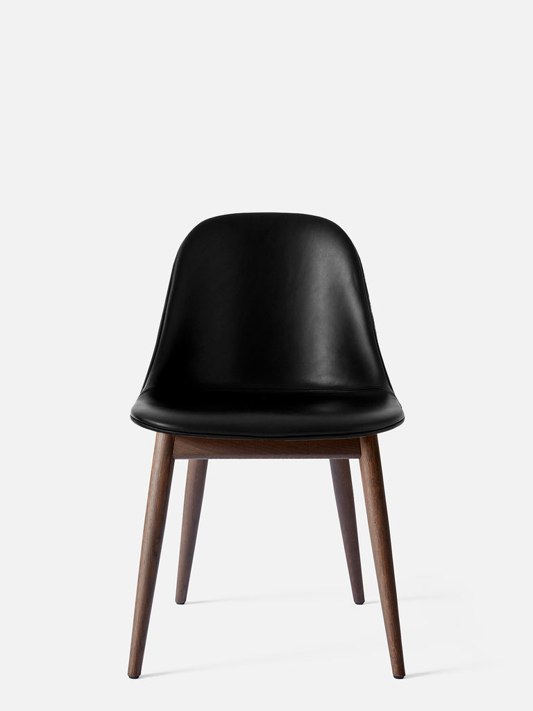 Harbour Side Chair, Upholstered-Chair-Norm Architects-Dining Height (17.7in) - Dark Oak-Black Leather Dakar 0842-menu-minimalist-modern-danish-design-home-decor
