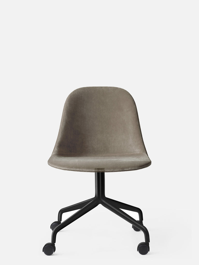 Harbour Side Chair, Upholstered-Chair-Norm Architects-Swivel Base (17.7in) - Black Steel w. Casters-Grey Brown Velvet CA7832 (078)-menu-minimalist-modern-danish-design-home-decor