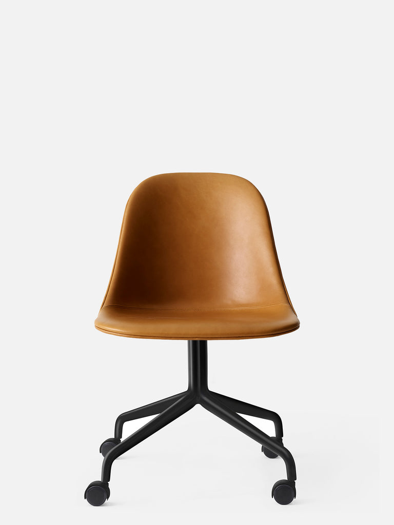 Harbour Side Chair, Upholstered-Chair-Norm Architects-Swivel Base (Seat 17.7in H)/Black Steel w. Casters-0250 Cognac/Dakar-menu-minimalist-modern-danish-design-home-decor