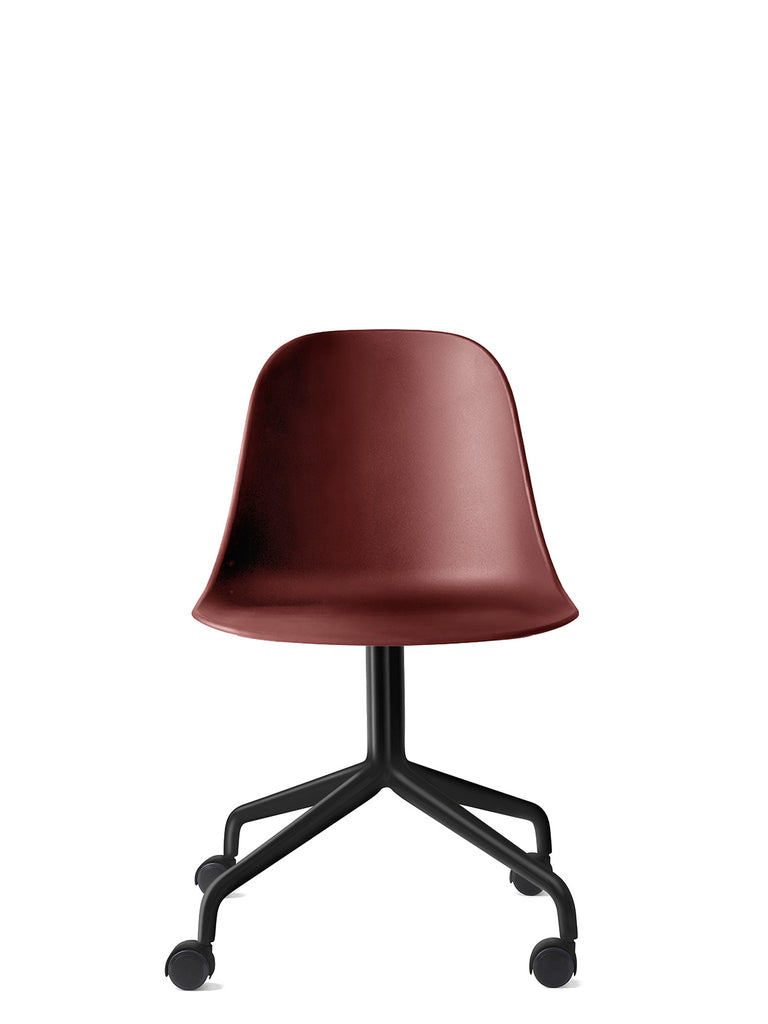 Harbour Side Chair, Hard Shell-Chair-Norm Architects-Burned Red-Swivel Base (Seat 17.7in H) - Black Steel w. Casters-menu-minimalist-modern-danish-design-home-decor