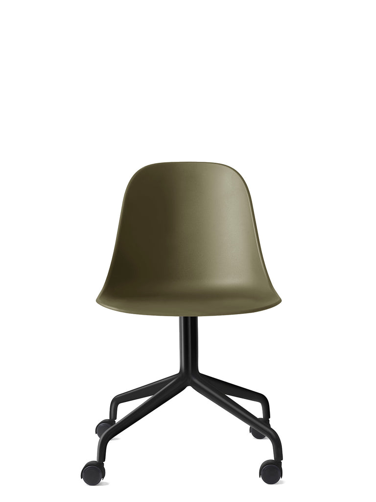 Harbour Side Chair, Hard Shell-Chair-Norm Architects-Olive-Swivel Base (Seat 17.7in H) - Black Steel w. Casters-menu-minimalist-modern-danish-design-home-decor