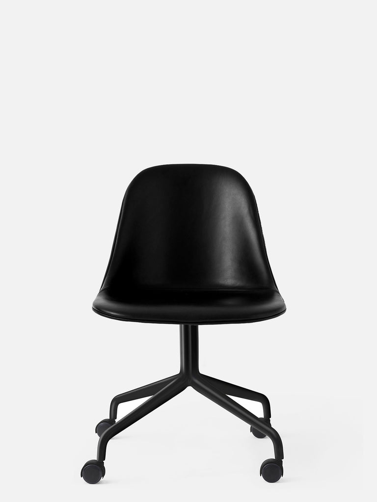 Harbour Side Chair, Upholstered-Chair-Norm Architects-Swivel Base (17.7in) - Black Steel w. Casters-Black Leather Dakar 0842-menu-minimalist-modern-danish-design-home-decor