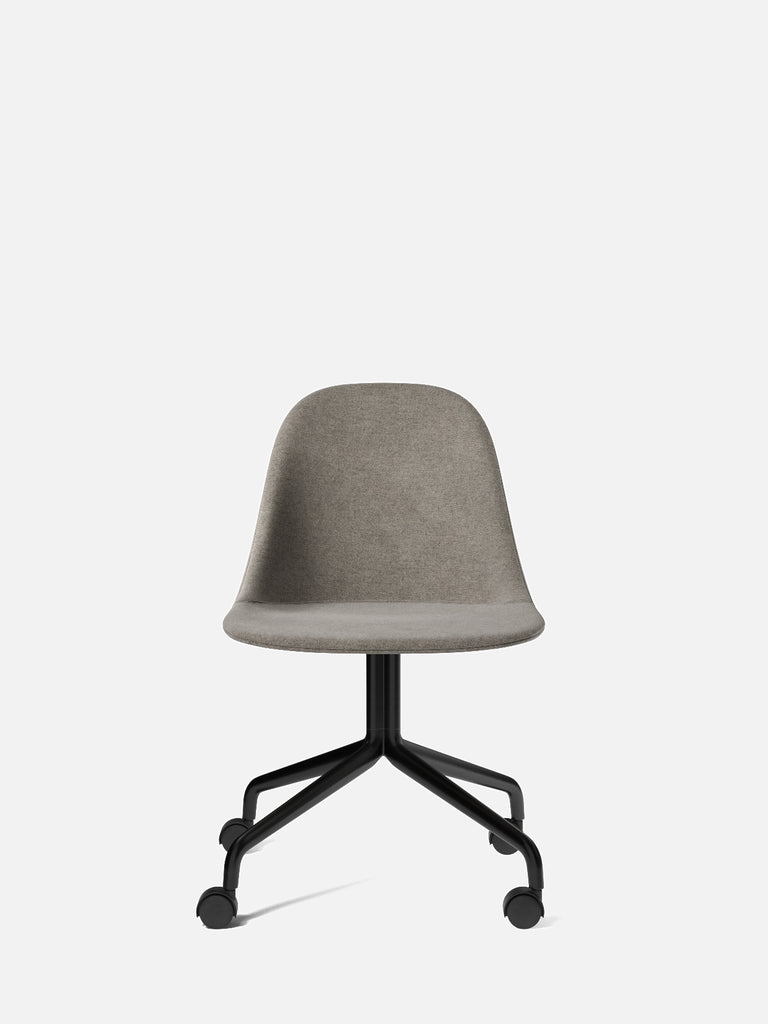 Harbour Side Chair, Upholstered-Chair-Norm Architects-Swivel Base (Seat 17.7in H)/Black Steel w. Casters-0111/MelangeNap-menu-minimalist-modern-danish-design-home-decor