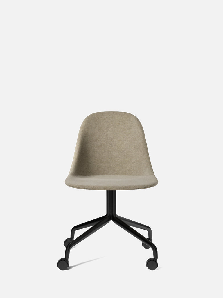 Harbour Side Chair, Upholstered-Chair-Norm Architects-Swivel Base (Seat 17.7in H)/Black Steel w. Casters-0211/MelangeNap-menu-minimalist-modern-danish-design-home-decor