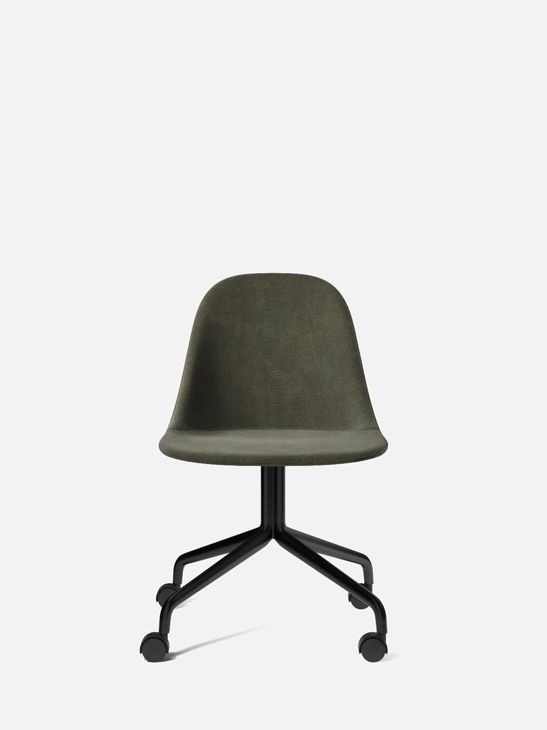 Harbour Side Chair, Upholstered-Chair-Norm Architects-Swivel Base (Seat 17.7in H)/Black Steel w. Casters-961/Fiord2-menu-minimalist-modern-danish-design-home-decor