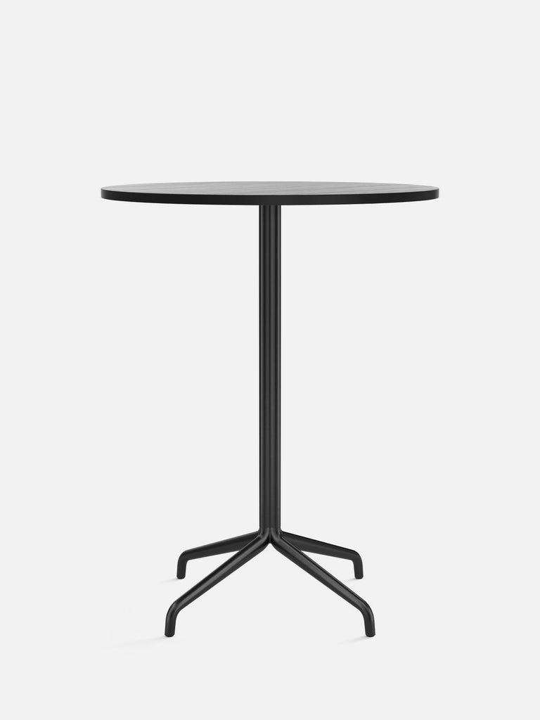 Harbour Column Table, Round-Café Table-Norm Architects-Bar Height (40.43in) - Star Base-Round 32in - Black Stained Oak Veneer-menu-minimalist-modern-danish-design-home-decor