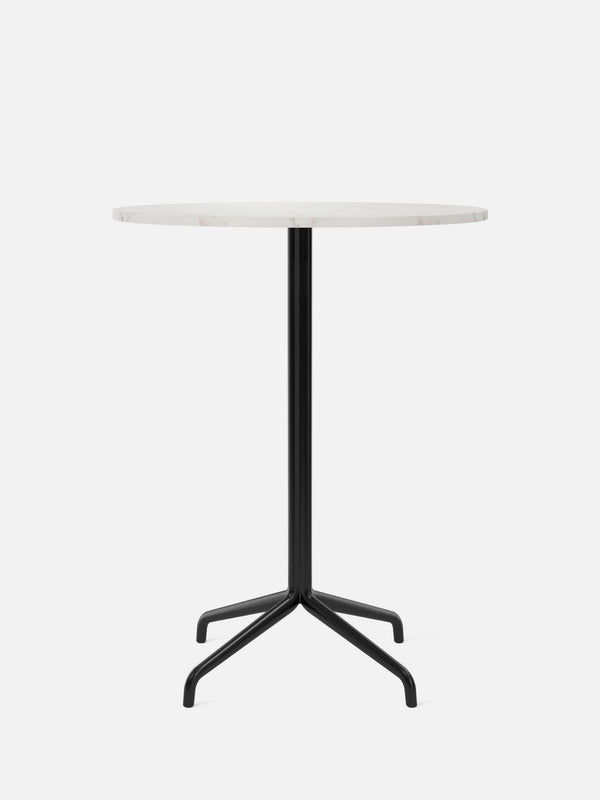 Harbour Column Table, Round Table Top-Café Table-Norm Architects-Bar Height (40.43in) - Star Base-Round 32in - Off White Marble-menu-minimalist-modern-danish-design-home-decor