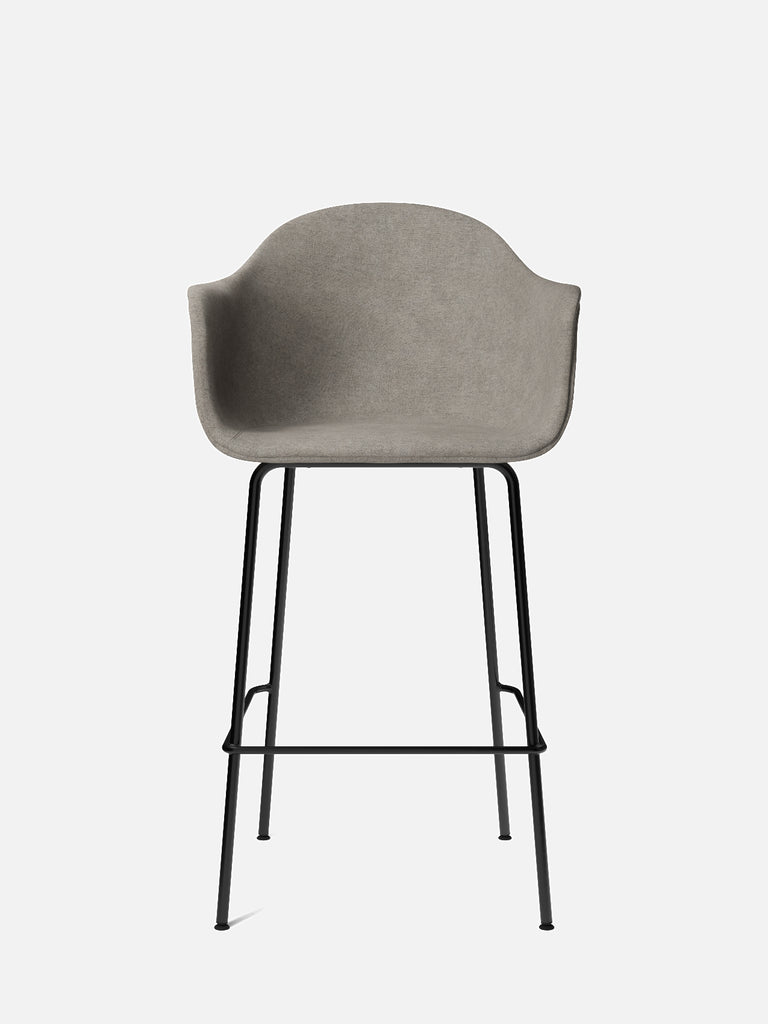 Harbour Arm Chair, Upholstered-Chair-Norm Architects-Bar Height (Seat 28.7in H)/Black Steel-0111/MelangeNap-menu-minimalist-modern-danish-design-home-decor