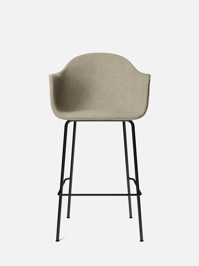 Harbour Arm Chair, Upholstered-Chair-Norm Architects-Bar Height (28.7in)/Black Steel-0211/MelangeNap-menu-minimalist-modern-danish-design-home-decor