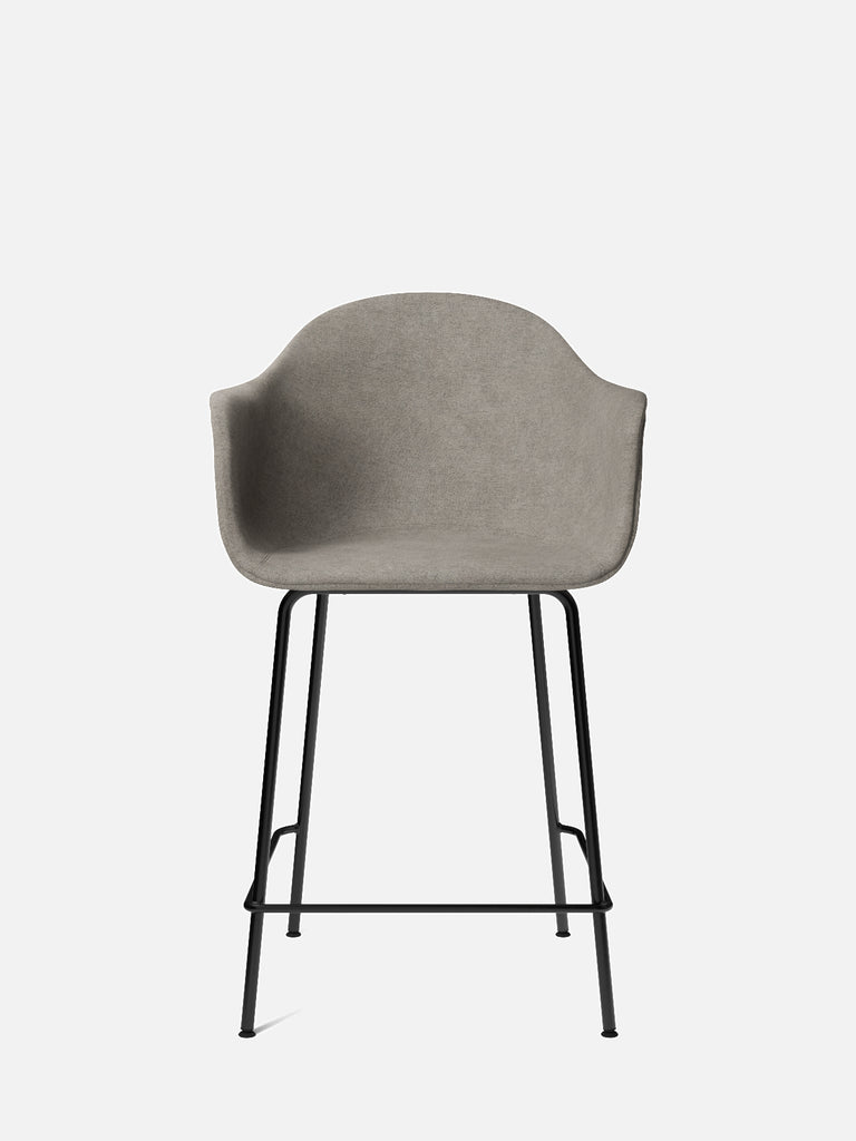 Harbour Arm Chair, Upholstered-Chair-Norm Architects-Counter Height (24.8in)/Black Steel-0111/MelangeNap-menu-minimalist-modern-danish-design-home-decor