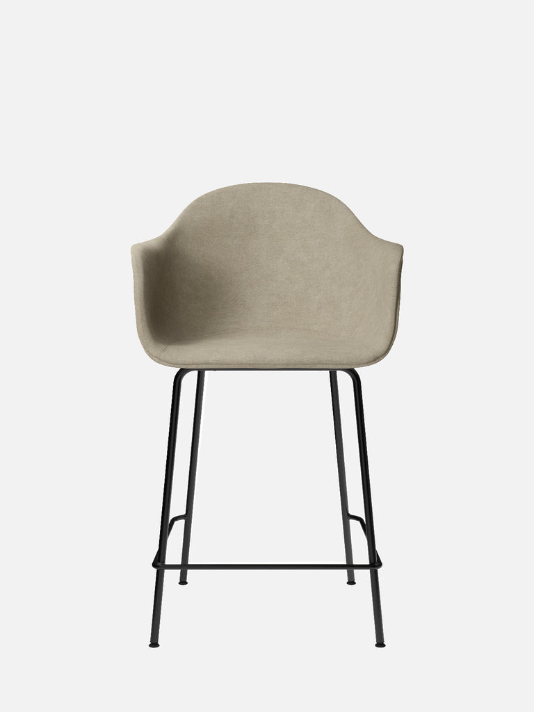 Harbour Arm Chair, Upholstered-Chair-Norm Architects-Counter Height (Seat 24.8in H)/Black Steel-0211/MelangeNap-menu-minimalist-modern-danish-design-home-decor