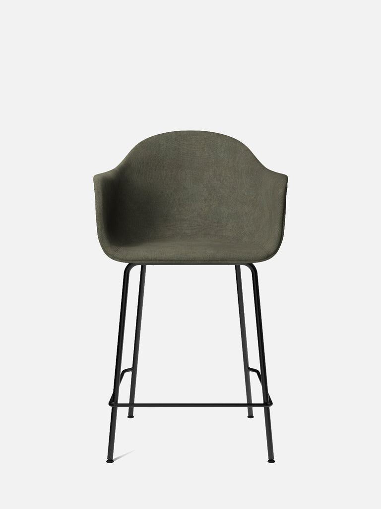 Harbour Arm Chair, Upholstered-Chair-Norm Architects-Counter Height (24.8in)/Black Steel-961/Fiord-menu-minimalist-modern-danish-design-home-decor