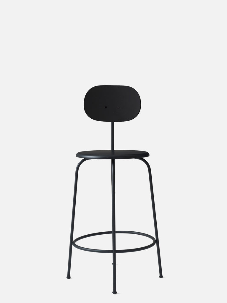 Afteroom Plus Chair, Non-Upholstered-Bar Chair-Afteroom Studio-Counter Height (Seat 25in H)/Black Steel-Black Painted MDF-menu-minimalist-modern-danish-design-home-decor