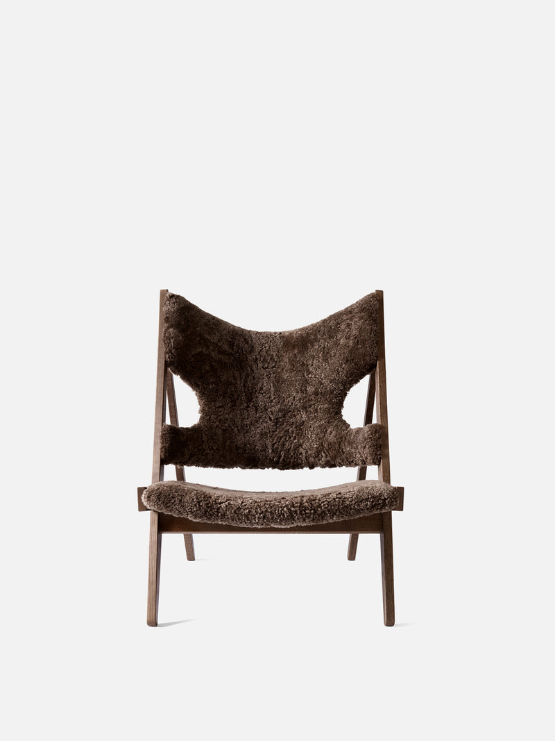 Knitting Chair, Sheepskin Upholstery-Lounge Chair-Ib Kofod-Larsen-Lounge Height (Seat 11.8in H)/Dark Stained Oak-Drake 20-menu-minimalist-modern-danish-design-home-decor