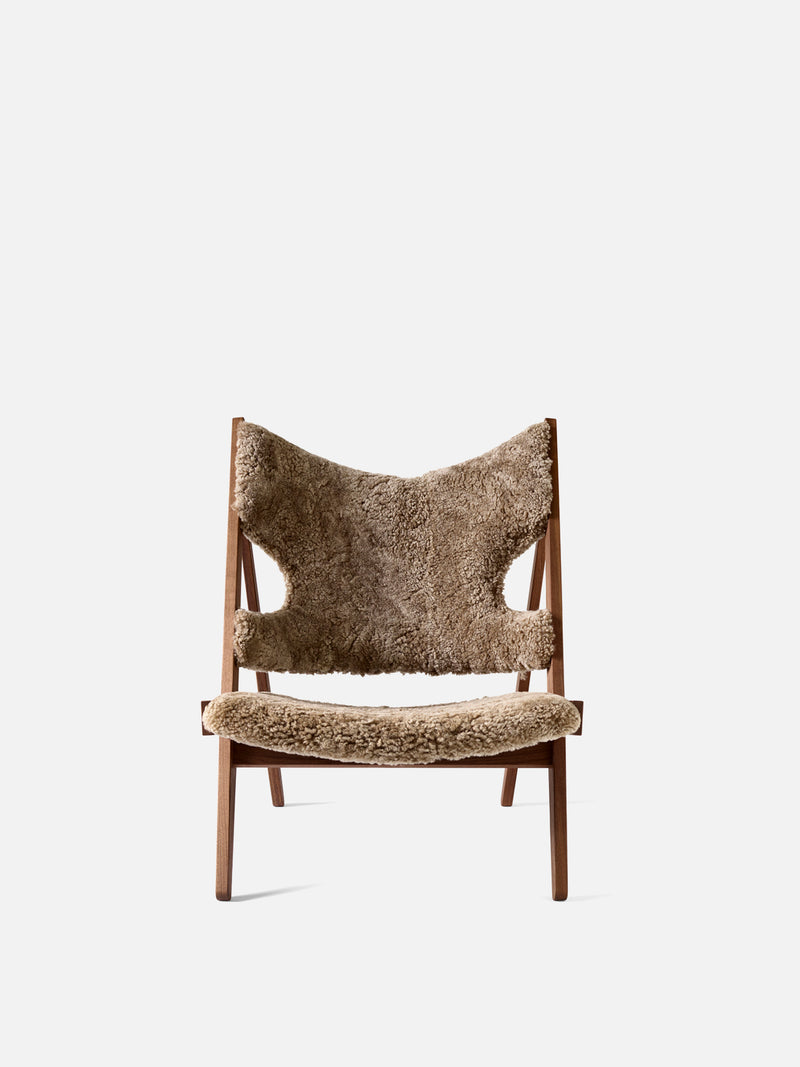 Knitting Chair, Sheepskin Upholstery-Lounge Chair-Ib Kofod-Larsen-Lounge Height (Seat 11.8in H)/Walnut-Cork 19-menu-minimalist-modern-danish-design-home-decor