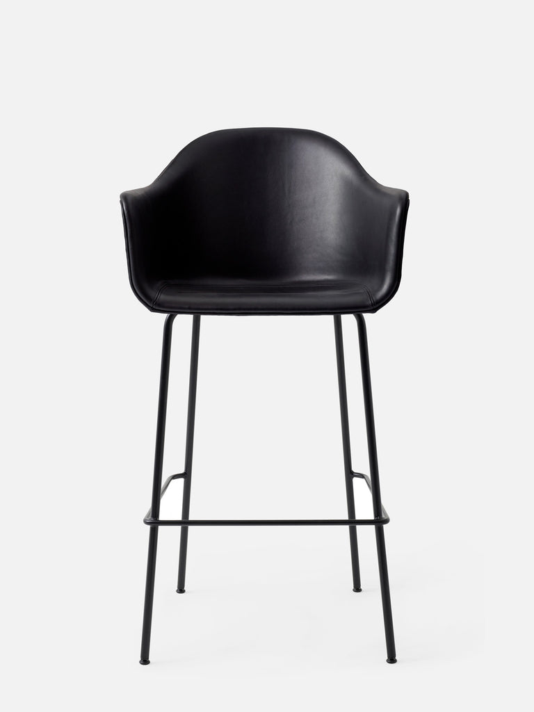 Harbour Arm Chair, Upholstered-Chair-Norm Architects-Black Leather Dakar 0842-Bar Height (28.7in) - Black Steel-menu-minimalist-modern-danish-design-home-decor