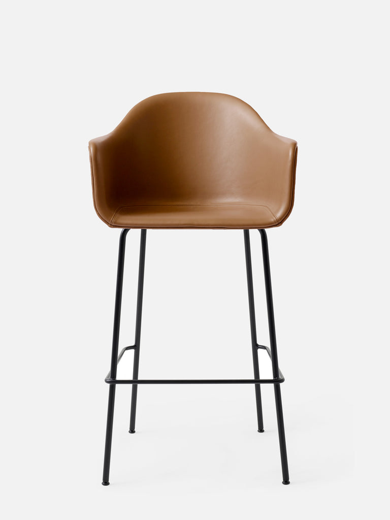 Harbour Arm Chair, Upholstered-Chair-Norm Architects-Bar Height (Seat 28.7in H)/Black Steel-0250 Cognac/Dakar-menu-minimalist-modern-danish-design-home-decor