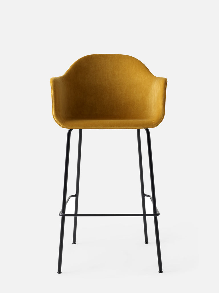 Harbour Arm Chair, Upholstered-Chair-Norm Architects-Bar Height (28.7in) - Black Steel-Orange Velvet CA7832 (060)-menu-minimalist-modern-danish-design-home-decor