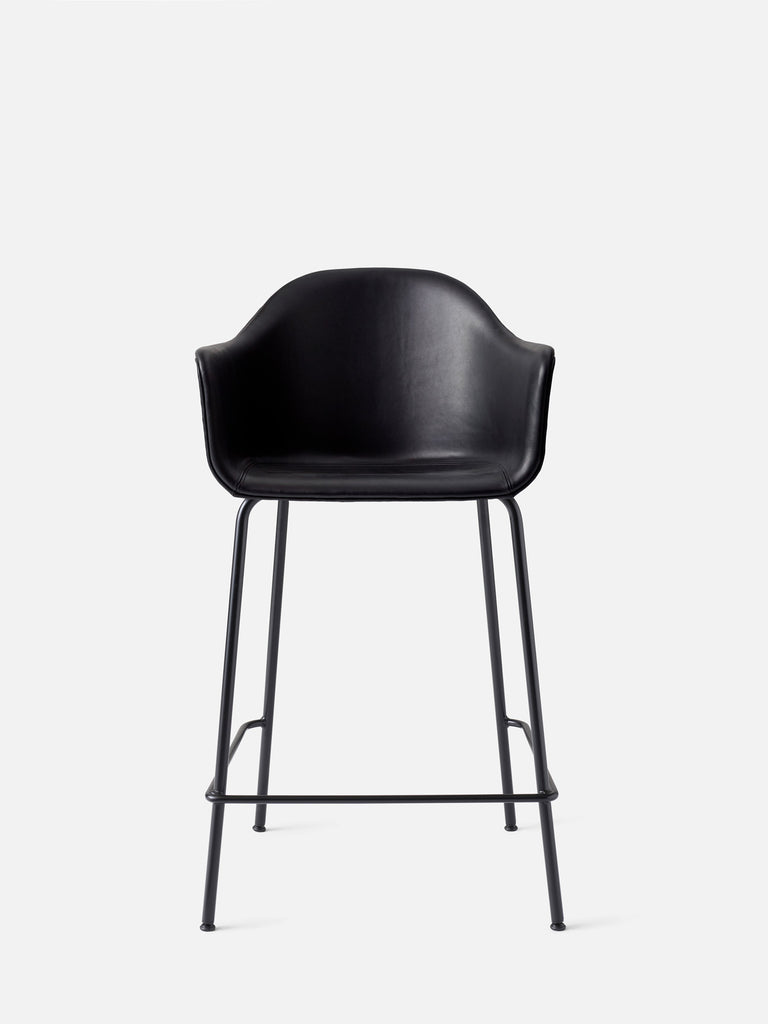Harbour Arm Chair, Upholstered-Chair-Norm Architects-Black Leather Dakar 0842-Counter Height (24.8in) - Black Steel-menu-minimalist-modern-danish-design-home-decor