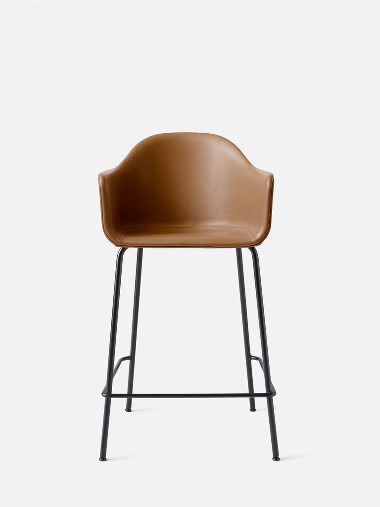 Harbour Arm Chair, Upholstered-Chair-Norm Architects-Counter Height (Seat 24.8in H)/Black Steel-0250 Cognac/Dakar-menu-minimalist-modern-danish-design-home-decor