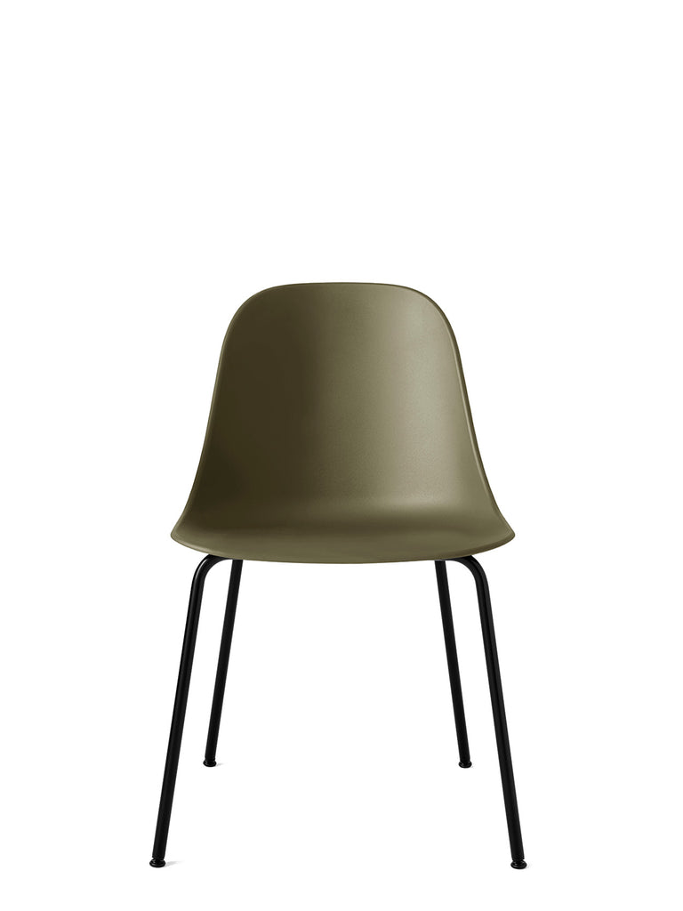 Harbour Side Chair, Hard Shell-Chair-Norm Architects-Olive-Dining Height (17.7in) - Black Steel-menu-minimalist-modern-danish-design-home-decor