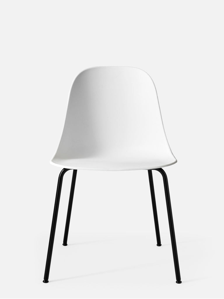 Harbour Side Chair, Hard Shell-Chair-Norm Architects-White-Dining Height (17.7in) - Black Steel-menu-minimalist-modern-danish-design-home-decor