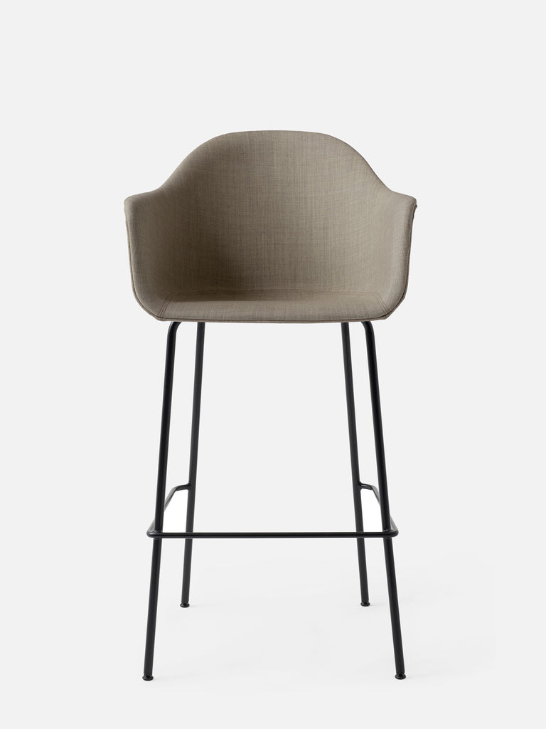 Harbour Arm Chair, Upholstered-Chair-Norm Architects-Bar Height (28.7in) - Black Steel-Sandy Brown Remix 2 (233)-menu-minimalist-modern-danish-design-home-decor