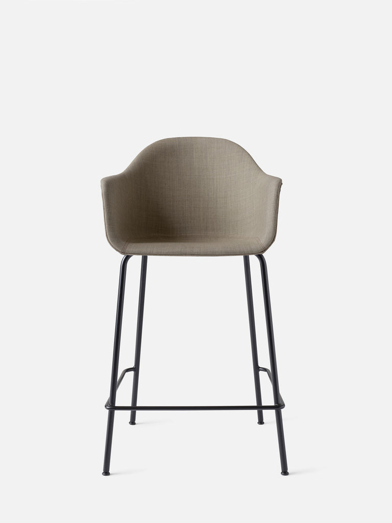 Harbour Arm Chair, Upholstered-Chair-Norm Architects-Counter Height (24.8in) - Black Steel-Sandy Brown Remix 2 (233)-menu-minimalist-modern-danish-design-home-decor