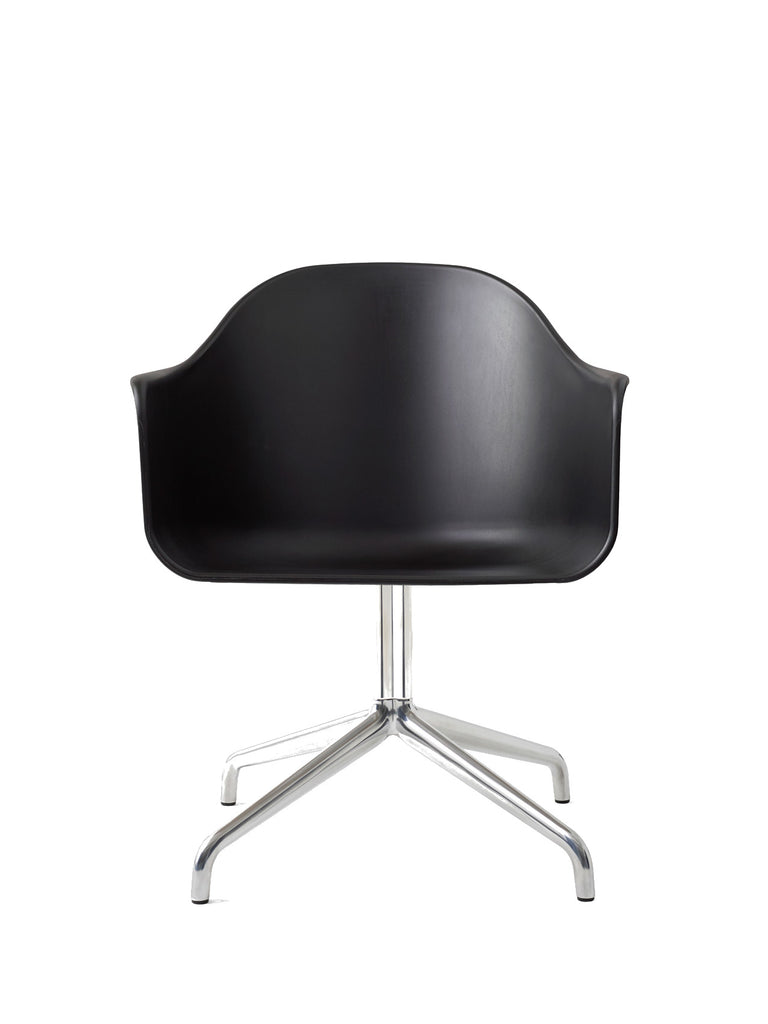 Harbour Arm Chair, Hard Shell-Chair-Norm Architects-Swivel Base (17.7in) - Polished Aluminum-Black-menu-minimalist-modern-danish-design-home-decor