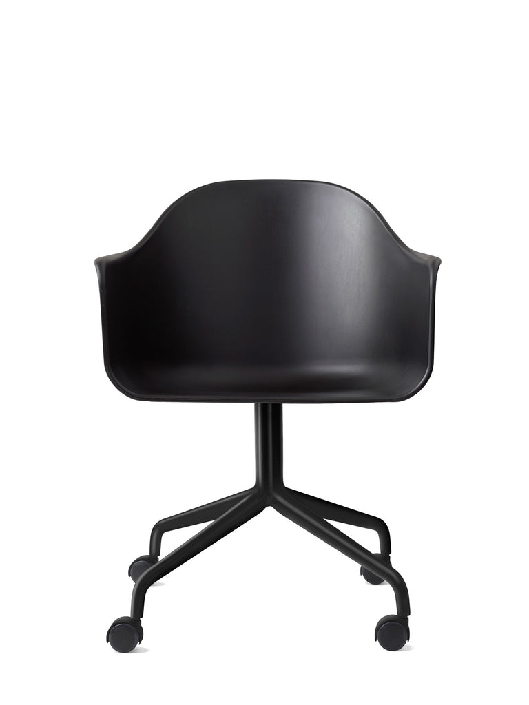 Harbour Arm Chair, Hard Shell-Chair-Norm Architects-Swivel Base (17.7in) - Black Steel w. Casters-Black-menu-minimalist-modern-danish-design-home-decor