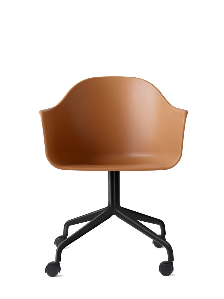Harbour Arm Chair, Hard Shell-Chair-Norm Architects-Swivel Base (17.7in) - Black Steel w. Casters-Khaki-menu-minimalist-modern-danish-design-home-decor