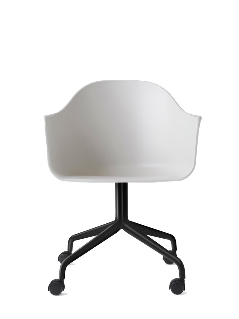 Harbour Arm Chair, Hard Shell-Chair-Norm Architects-Swivel Base (17.7in) - Black Steel w. Casters-Light Grey-menu-minimalist-modern-danish-design-home-decor