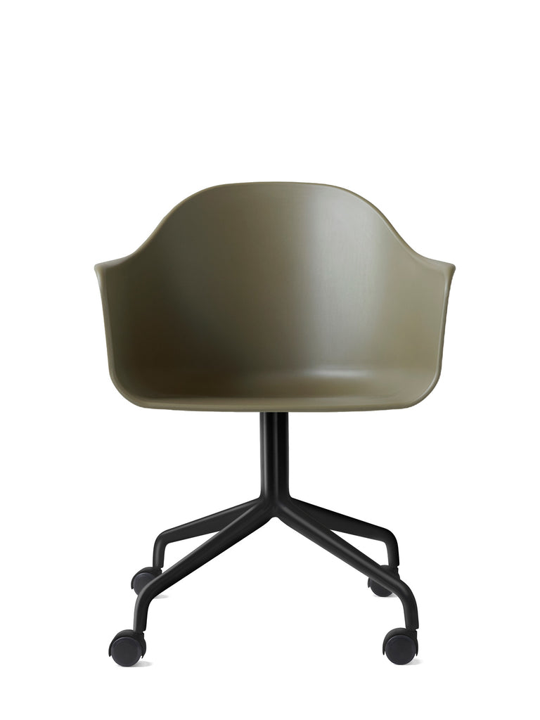 Harbour Arm Chair, Hard Shell-Chair-Norm Architects-Swivel Base (17.7in) - Black Steel w. Casters-Olive-menu-minimalist-modern-danish-design-home-decor