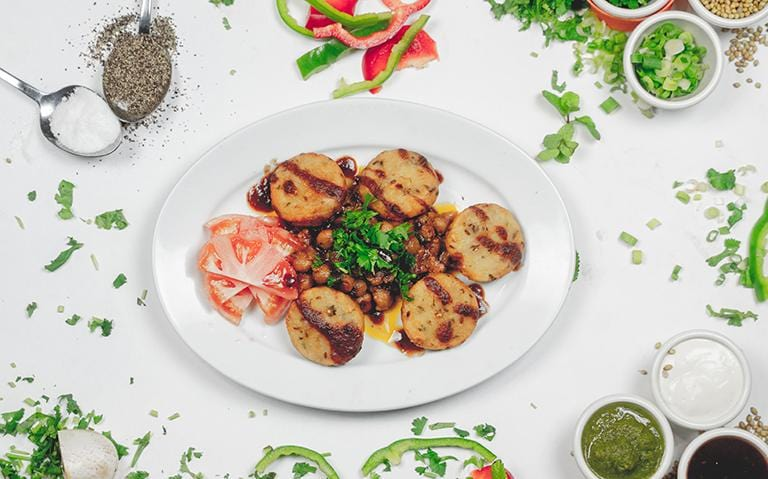 POTATO PANCAKES (ALOO TIKKI CHANNA)