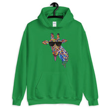 Load image into Gallery viewer, Sunglasses & Tongue Out Giraffe Hoodie (Front Design)