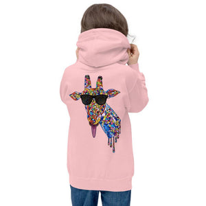 Girl's Sunglasses & Tongue Out Giraffe Hoodie