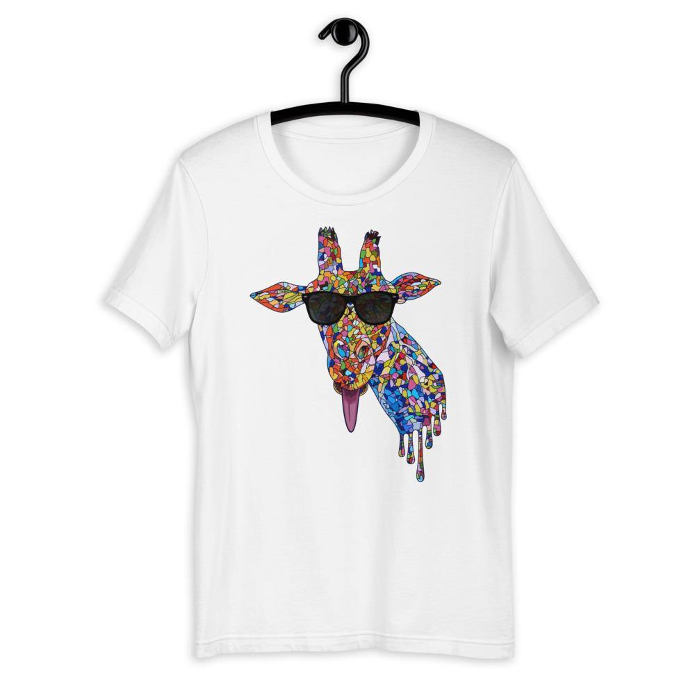 Sunglasses & Tongue Out Giraffe Unisex Shirt (Front Design)