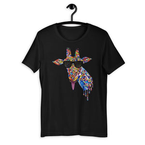 Sunglasses & Tongue Out Giraffe Short-Sleeve Unisex Shirt (Front Design)
