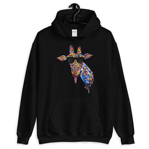 Sunglasses & Tongue Out Giraffe Hoodie (Front Design)