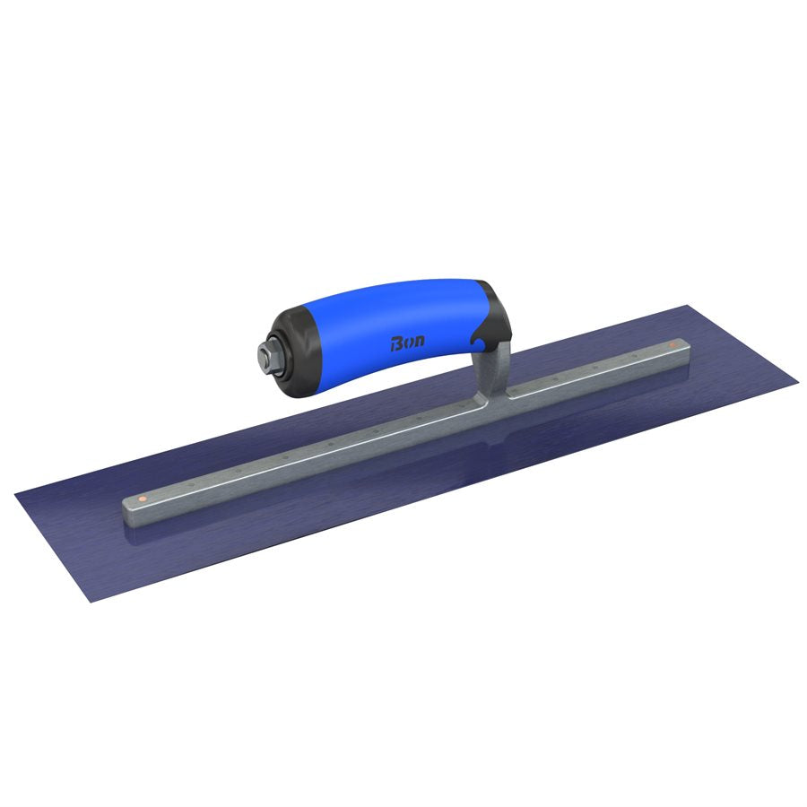 BLUE STEEL FINISHING TROWEL - SQUARE END - 20 X 4 - COMFORT WAVE HANDLE