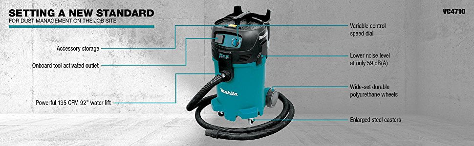"Makita VC4710X1 12 gallon Xtract Vac Wet/Dry Vacuum and 7"" Angle Grinder"