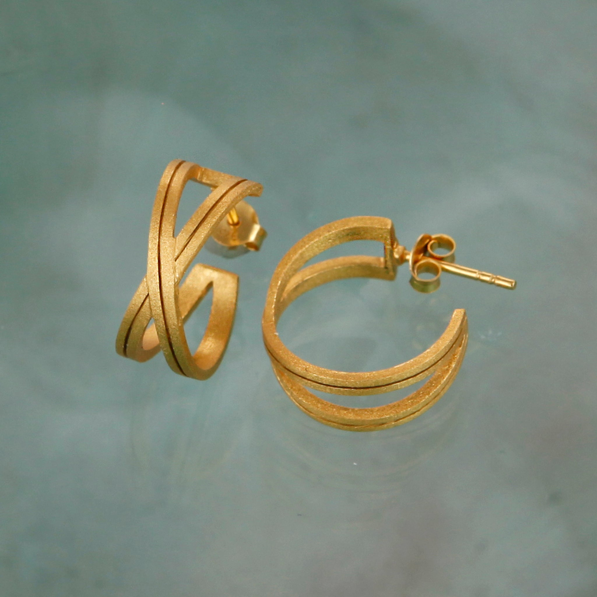 Gold Crossover Hoop Earrings
