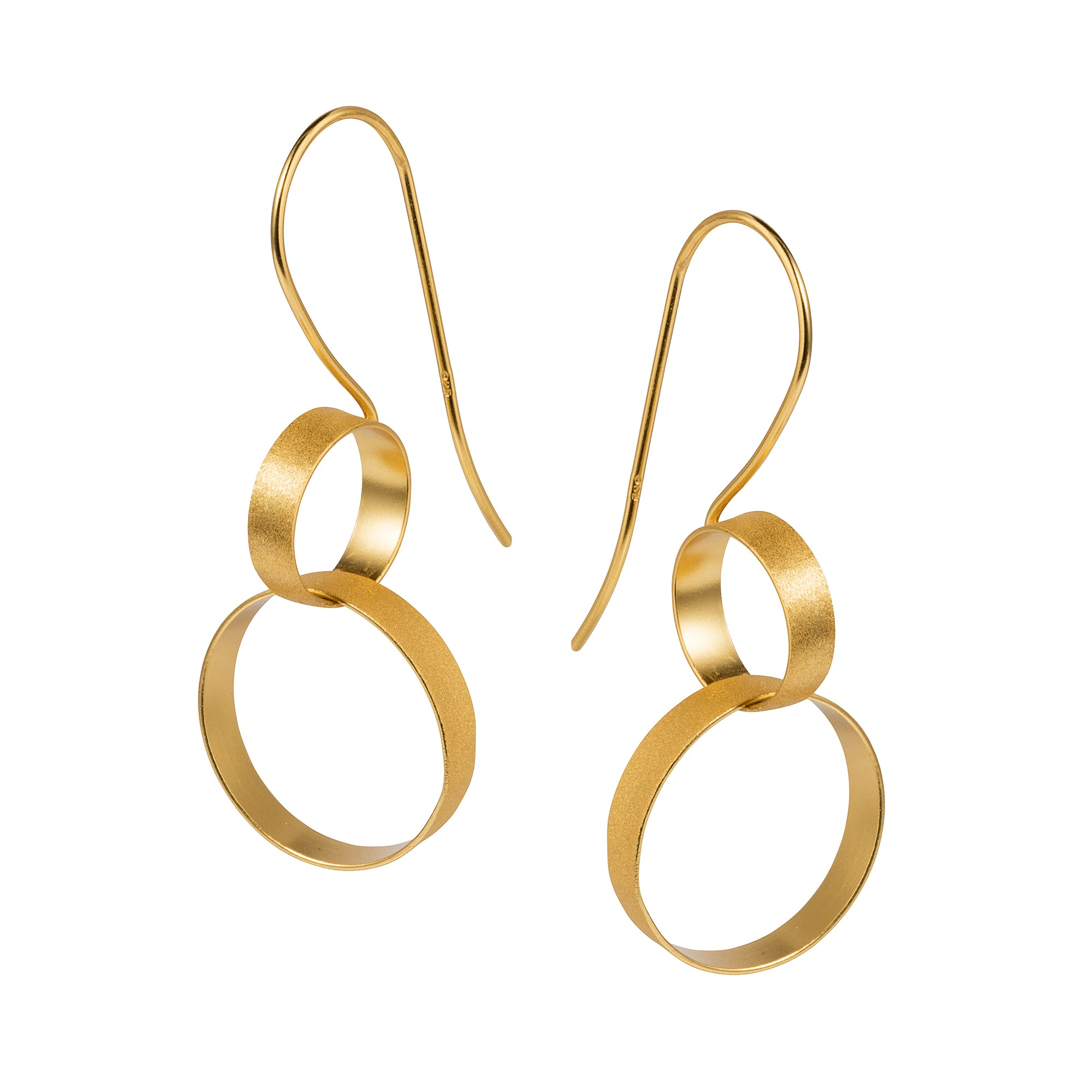 Gold Double Hoop Hook Earrings