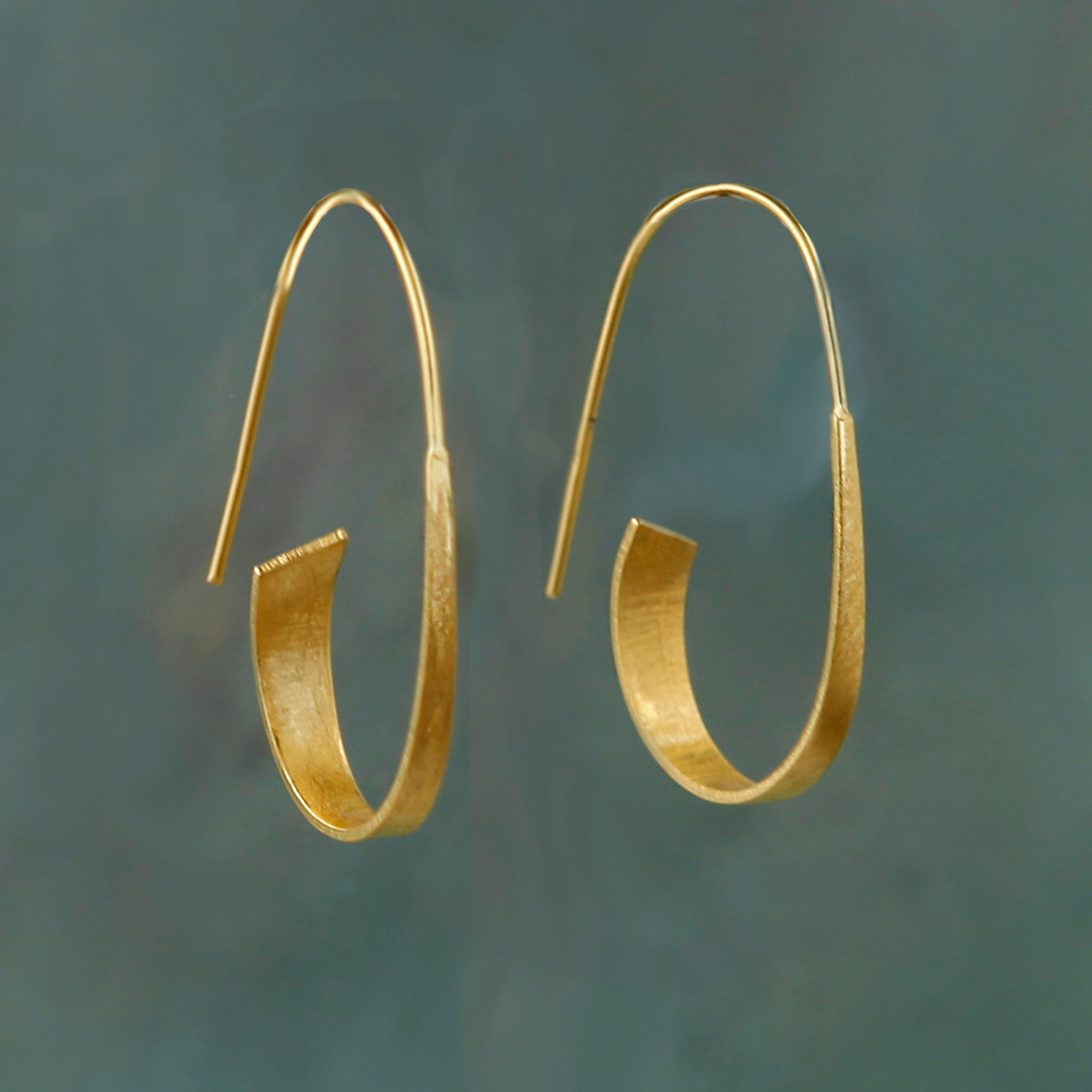 Gold Long Curl Hoop Earrings